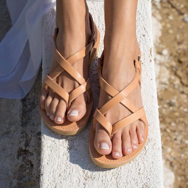 Arden Furtado sandales plates à boucle pour dames, tongs, chaussures de plage à bande étroite, grande taille 43, tendance été 2019