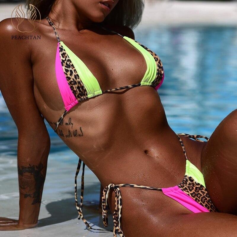 Peachtan Halter Bikinis 2020 Mujer Leopard Print Brazilian Swimsuit Female Patchwork Swimwear Women Bathing Suit Biquini Summer