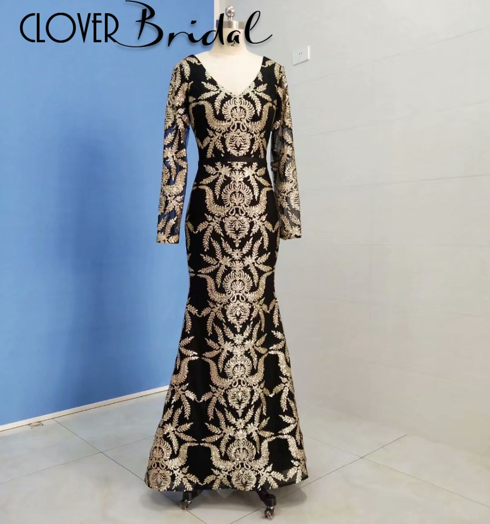 CloverBridal actual pictures floor length V neck and back long sleeves mermaid   prom     dress   black with gold appliques