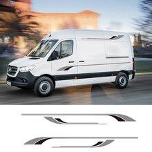 1 쌍 2 사이드 Motorhome Stripes Camper Van 그래픽 스티커 데칼 For Mercedes Sprinter Vinyl
