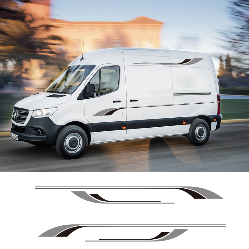 1 Pair 2 Sides <font><b>Motorhome</b></font> Stripes Camper Van Graphics <font><b>Stickers</b></font> <font><b>Decals</b></font> For Mercedes Sprinter Vinyl image