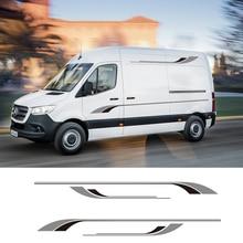 1 çift 2 taraflı karavan çizgili karavan grafik çıkartmaları çıkartmaları Mercedes Sprinter için vinil