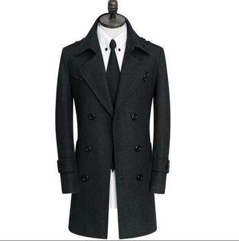 Double-breasted casual woolen coat men trench coats long sleeves overcoat mens cashmere coat casaco masculino inverno england