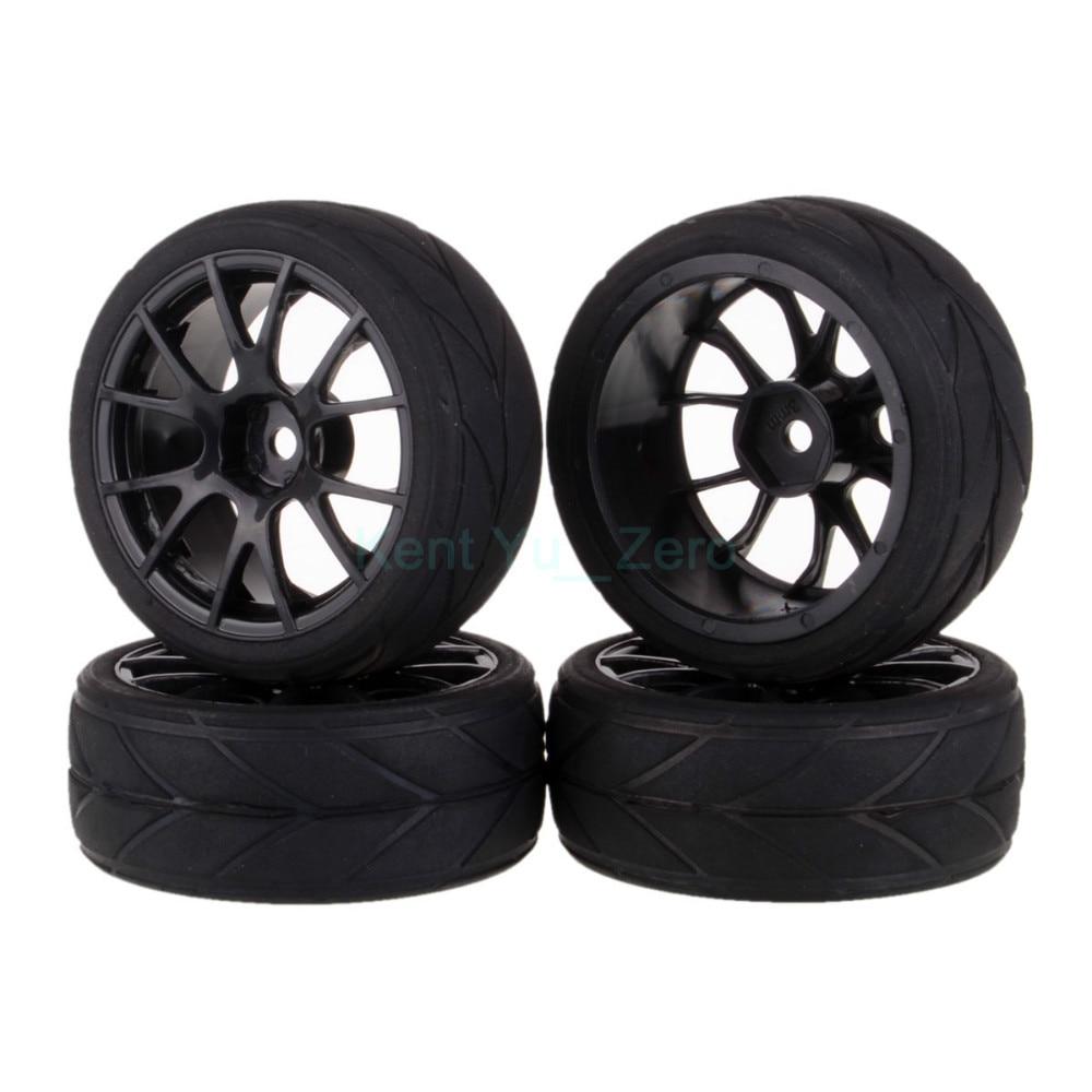 4PCS 12MM Hub HPI Redcat HSP Plastic Wheel Rim & Grip Rubber Tyre,Tires,For RC 1:10 Car On Road,9060-6081 4pcs 1 10 on road rubber tyre for hsp tamiya losi rc car tyre