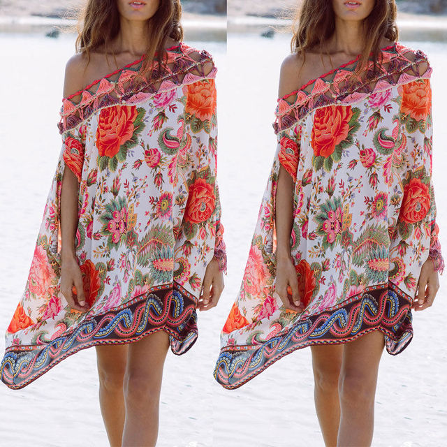48e6b8229e Hot Women Beachwear Swimwear Bikini Beach Cover Up Ladies Summer One- Shoulder Floral Blouse