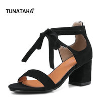 Faux Suede Comfort Square Heel Open Toe Woman Sandals Fashion Lace Up Party High Heel Shoes