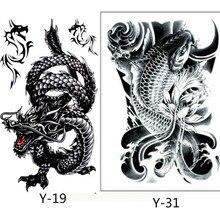 2PCS Creative Design Black Dragon And Black Fish Temporary Tatto Waterproof Men Women Tattoo Arm Sticker Fake Shoulder Tattoos