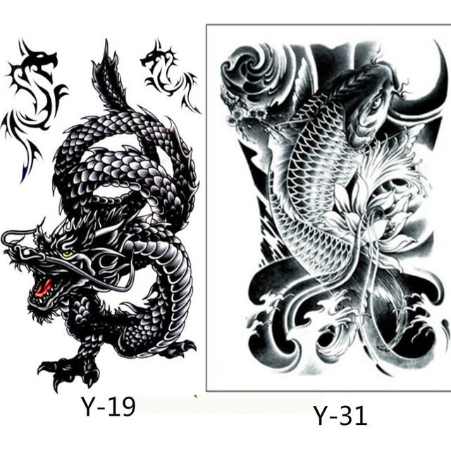 2PCS Creative Design Black Dragon And Black Fish Temporary Tatto Waterproof Men Women Tattoo Arm Sticker Fake Shoulder Tattoos