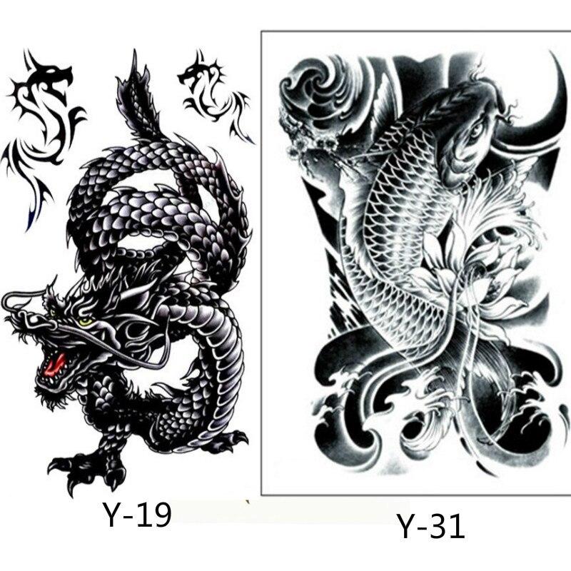9f9e78497 2 قطع الإبداعية تصميم التنين الأسود والأسود الأسماك المؤقتة تاتو للماء  الرجال النساء الوشم الذراع ملصق وهمية الكتف الوشم