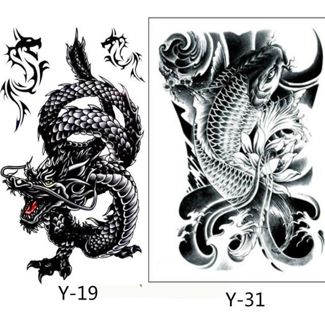 2 Pcs Creative Design Noir Dragon Et Noir Poissons Temporaire Tatto