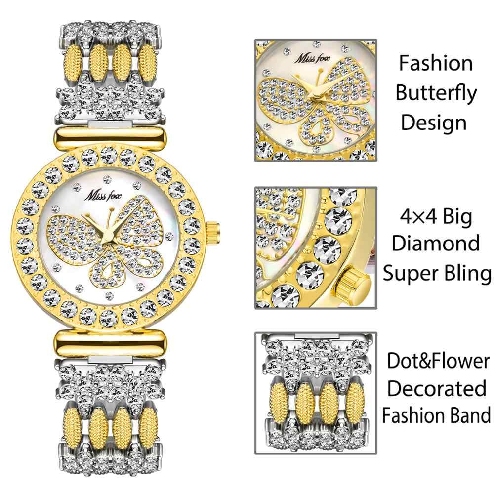 MISSFOX פרפר נשים שעונים יוקרה מותג גדול יהלומי 18 K זהב שעון עמיד למים מיוחד צמיד יקר גבירותיי שעון יד