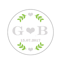 Personalized Round Sticker, Green Leaf with Sliver Text, Wedding Favors Customs Round Sticker,Labels ,Customized Name and Date