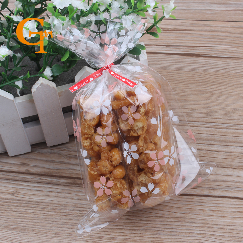 Transparent Pinkwhite Flowerbread Cookie Packing Bags Party