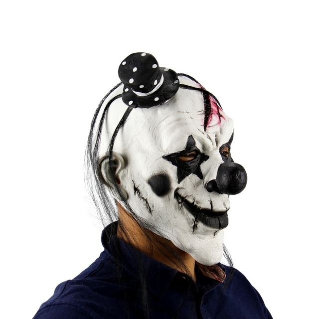 Halloween Scary Clown Big Mouth Red Hair Nose Cosplay Horror Latex Full Face Mask