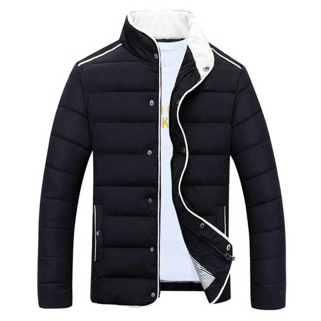 HEE GRAND Men Parkas 2017 New Winter Men's Casual Stand Collar Winter Warm Parkas Padded Solid Male Coat M-3XL MWM1455