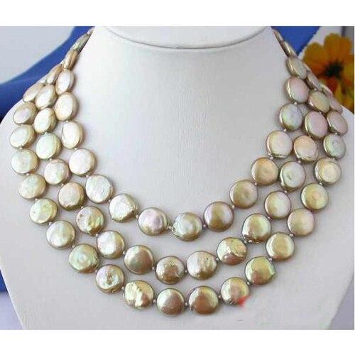 Collier de perles d'eau douce, AAA 3 rangées 12-14mm bijoux de perles de culture Champagne, fleur de coquille, nouvelle livraison gratuite. - 2