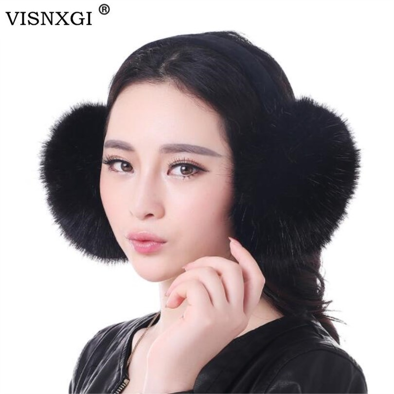VISNXGI Winter Earmuff Imitation Rabbit Fashion Women Girl Fur Winter Ear Warmer Earmuffs Cat Ear Muffs Earlap Package Headband