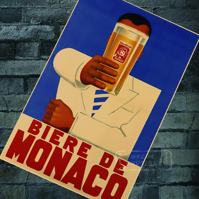 Retro Advertising Posters Biere De Monaco Beer Classic Wall Stickers