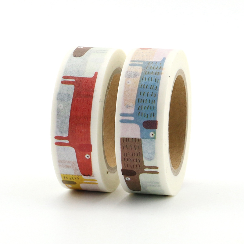 2PCS/lot Cute Dachshund Decorative Japanese Washi Tape Paper DIY Scrapbooking Adhesive Tape Mask 1.5cm*10m School Office Supply