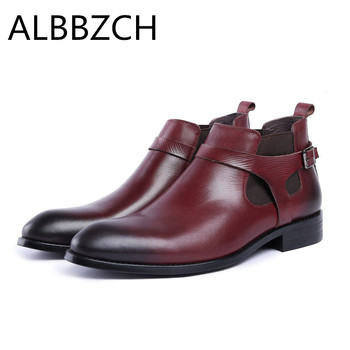 New Mens Genuine Leather Chelsea Ankle Boots Men Trend Slip-On Work Boots Man Fashion Buckle Designer Military Short Boots Botas
