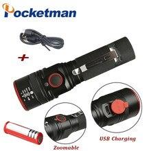 3800 ml T6 3 modos torch Zoomable Lanterna Led Lanterna Recarregável USB portátil para 18650 bateria