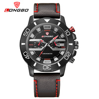 Unique Style LONGBO Brand Watch Men Leather Strap Sport Quartz Watch With Date Big Dial Waterproof
