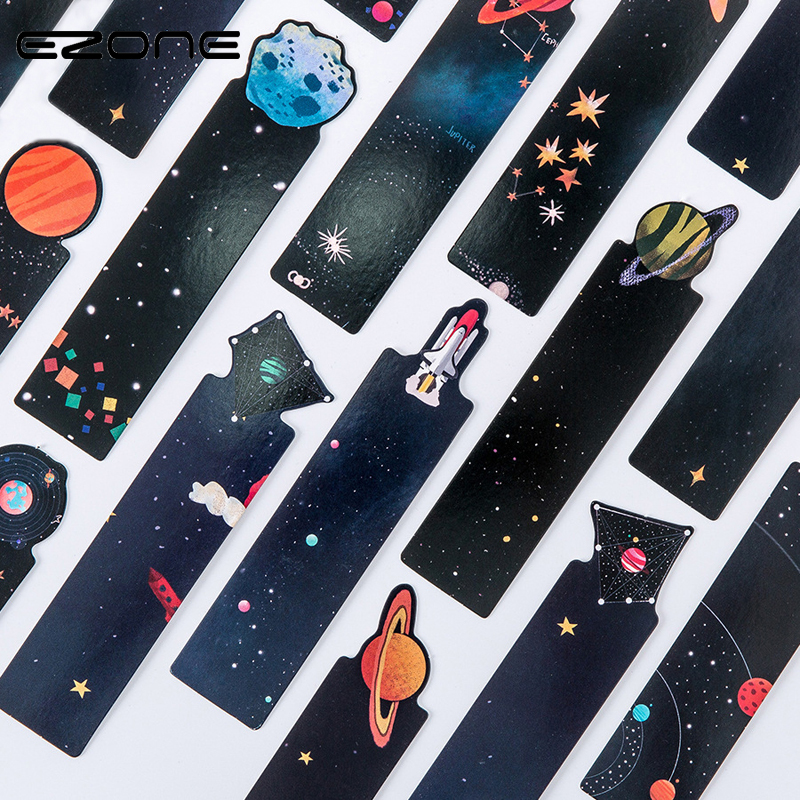 EZONE 30Pcs/Set Planet Bookmark Message Card Creative Galaxy Paper Bookmarks Book Holder School Office Supplies Material Escolar