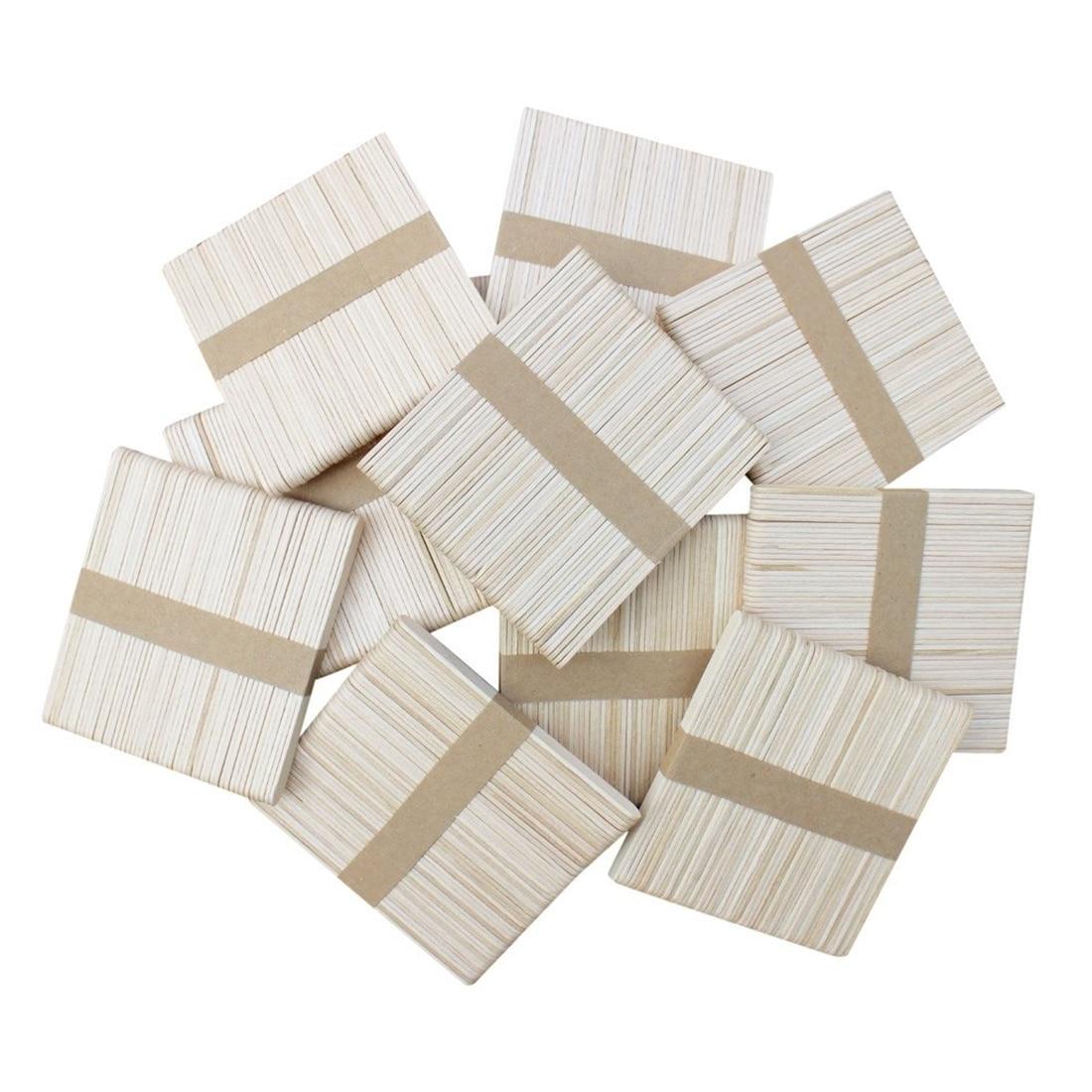 300 PCS Natural Wood Popsicle Sticks, Wooden Popsicle Stick, Homemade Ice Cream Sticks, Natural Wood Craft Sticks, Great For C