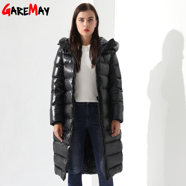 Winter Down Jacket For Women Doudoune Femme Long Feather Jacket Hooded Down  Coats Women Parkas Black
