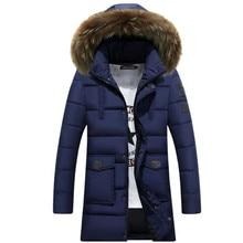 Men Medium Long Hooded Jackets Coat Winter Thicken warm male Outerwear Parkas fu