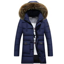 Men Medium Long Hooded Jackets Coat Winter Thicken warm male Outerwear Parkas fur collar Dismountable cotton-padded jacket
