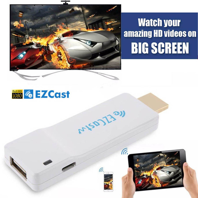 Marque Propriétaire EZCast Fil OTA TV Dongle 1080 p Affichage TV Bâton Streaming Mirroring HDMI Converter Support Iphone Android Gagne mac