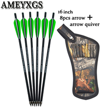 8pcs 16 Crossbow Bolts Arrows Carbon Shafts With Arrow Quiver For Camping Outdoor  Hunting Shooting Archery Accessories