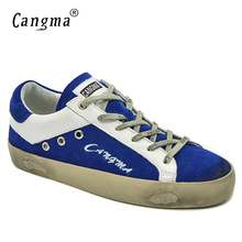 CANGMA Brand Shoes Women Sneakers Genuine Leather Blue Girls School Big Size Suede Breathable Lace-up Casual Shoes Bass Flats
