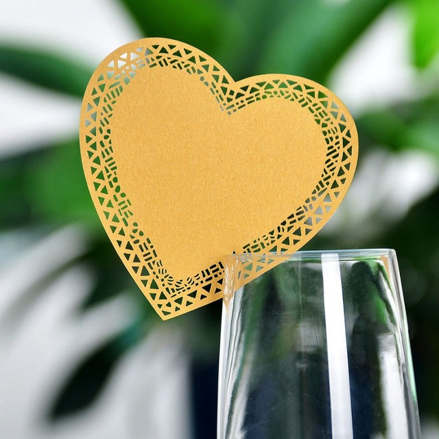 120pcs gold laser cut paper place card table card holder wedding invitation heart for party wedding