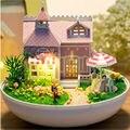 """Bonito Bola de Plástico Kits de Casa De Bonecas Em Miniatura Casa de Boneca para Boneca, """"Love House"""" Kit Modelo de Construção Montar Brinquedos para o Presente da menina"""