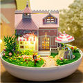 "Cute Plastic Ball Dollhouse Kits Miniature Doll House for Doll,""Love House"" Model Building Kit Assembling Toys for Girl's Gift"