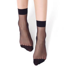 цена summer sexy ultra - thin transparent crystal silk women socks high elastic black nylon short socks female socks 10Pair=20Pieces