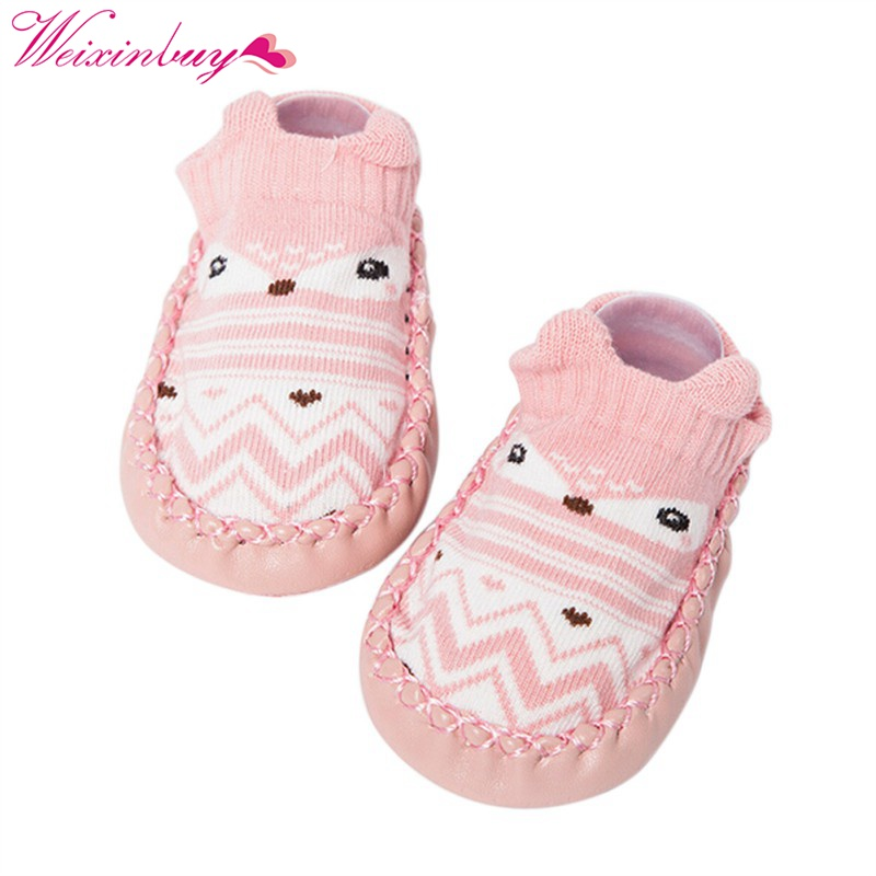 Newly Baby ShoesToddler Floor Sock Cartoon Baby Boys Girl Shoes Socks With Rubber Sole Prewalker