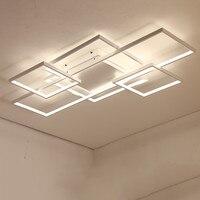 Modern Ceiling Lights LED Lamp For Living Bedroom Aluminum White Black Circle Rectangle Rings Lustre Ceiling