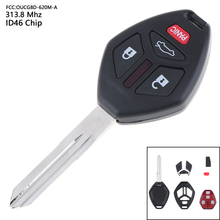 313.8MHz 4 Buttons Portable Keyless Remote Key Fob with ID46 Chip OUCG8D-620M-A for 2006 2007 Fit Mitsubishi Eclipse