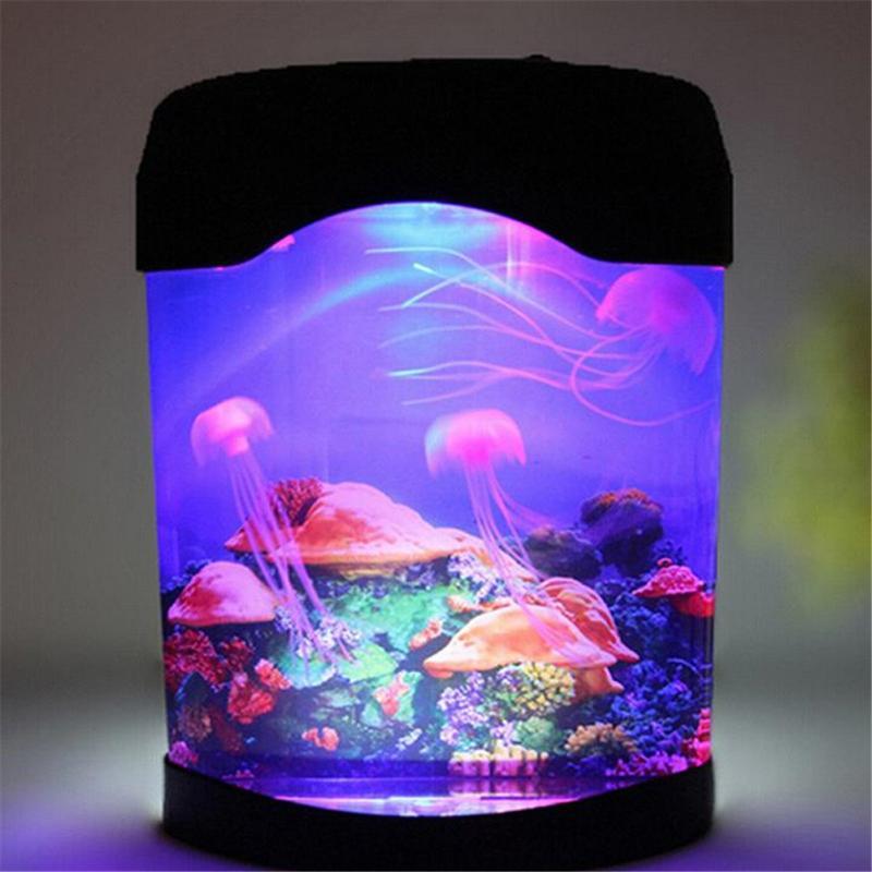 ФОТО Home Decor Colorful LED Jellyfish Tank Sea World Swimming Mood Lamp Nightlight