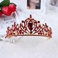 Red Women Tiaras High Grade Wedding Crown Jewelry Fashion Flower Pure Crystal Bride Head Hair Accessories Queen  WHG0122