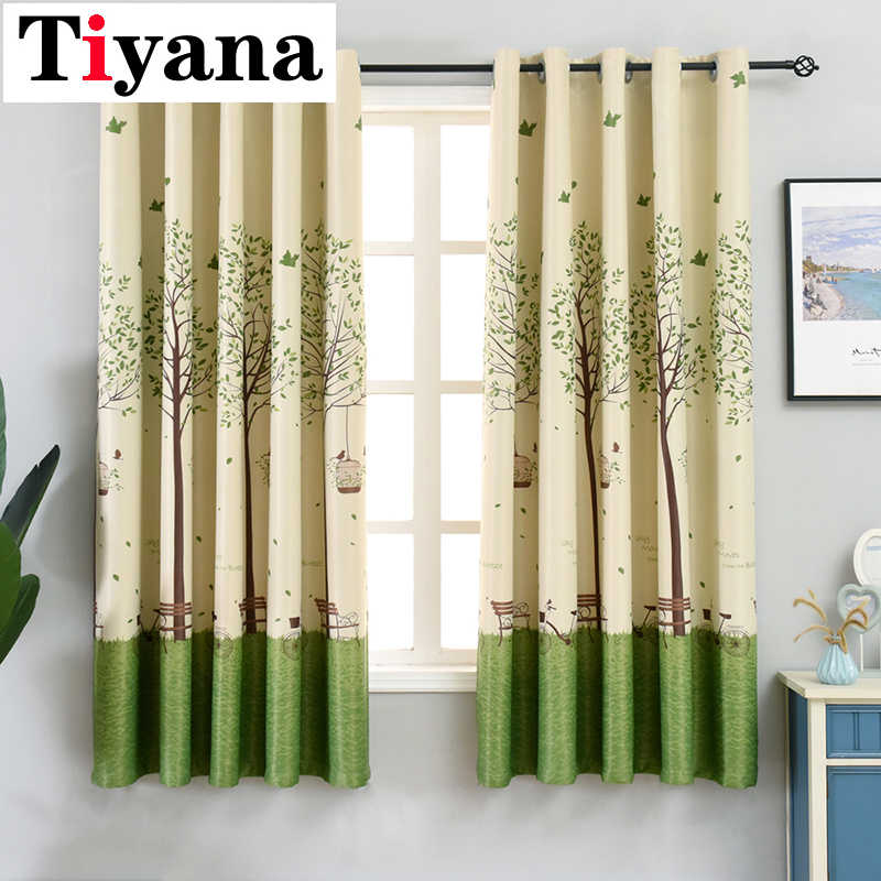 Tiyana Green Tree Short Curtains For Kitchen Curtains For Living Room Bedroom Sheer Curtains Window Screening Drapes PC03X