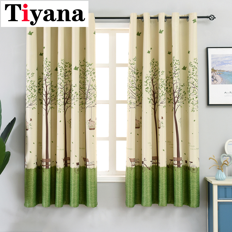 Tiyana Green Tree Short Curtains For Kitchen Short Grommet Top Curtains Sheer Curtains Window Screening Drapes PC03X