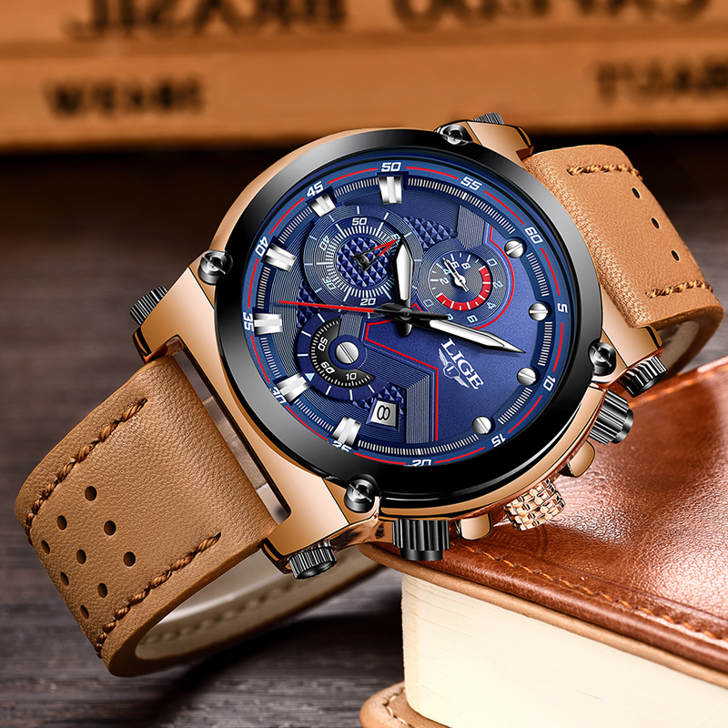 2018 LIGE herrklockor Business Top Luxury Brand Quartz Watch Herr - Herrklockor - Foto 3