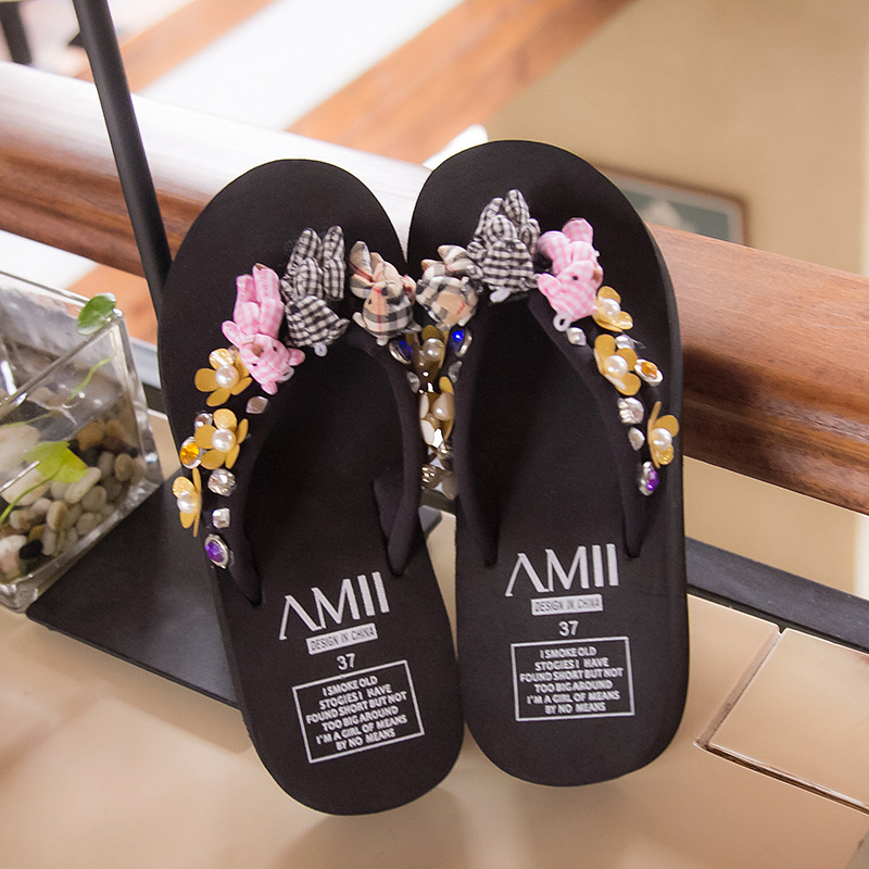fc4e6e935 Cute Bear sweet flowers women sandal bling pearl summer beach shoes wedges flip  flop clip toe thick heel slipper platform slides