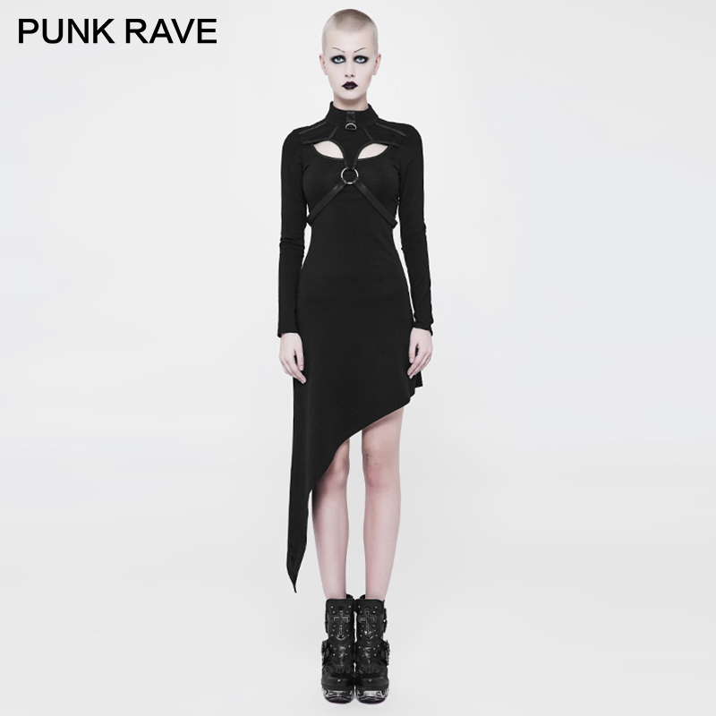 PUNK RAVE Punk Black Party Sexy Ladies Gothic Asymmetrical Slant Hem Black Skinny Front Chest Buckle
