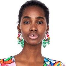 Vodeshanliwen, Новое поступление, эмалированные серьги в виде листьев для женщин, милые крупные серьги с цветами, лидер продаж, ювелирные изделия ZA