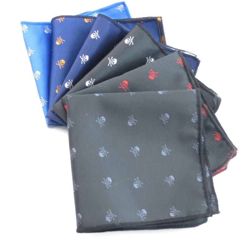 Elegant Men Skull Jacquard Pocket Square Handkerchiefs Bowtie 2020 Wedding Business Polyester Pocket Chest Towel Hankies Bow Tie